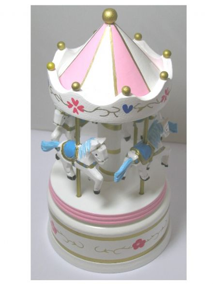 Wooden White and Pink Musical Carousel 16012